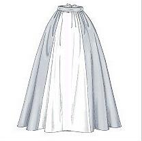 Une jupe large et longue portée sur un jupon à cerceaux